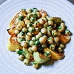 Roasted Patty Pan Squash and Chick Peas