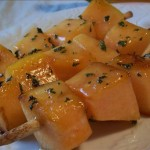 Grilled Cantaloupe with Honey and Mint